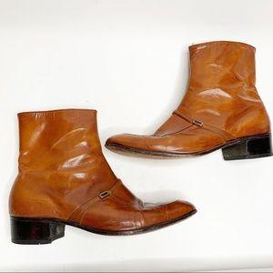 Florsheim Cognac Beatles Leather Boots 11.5 D